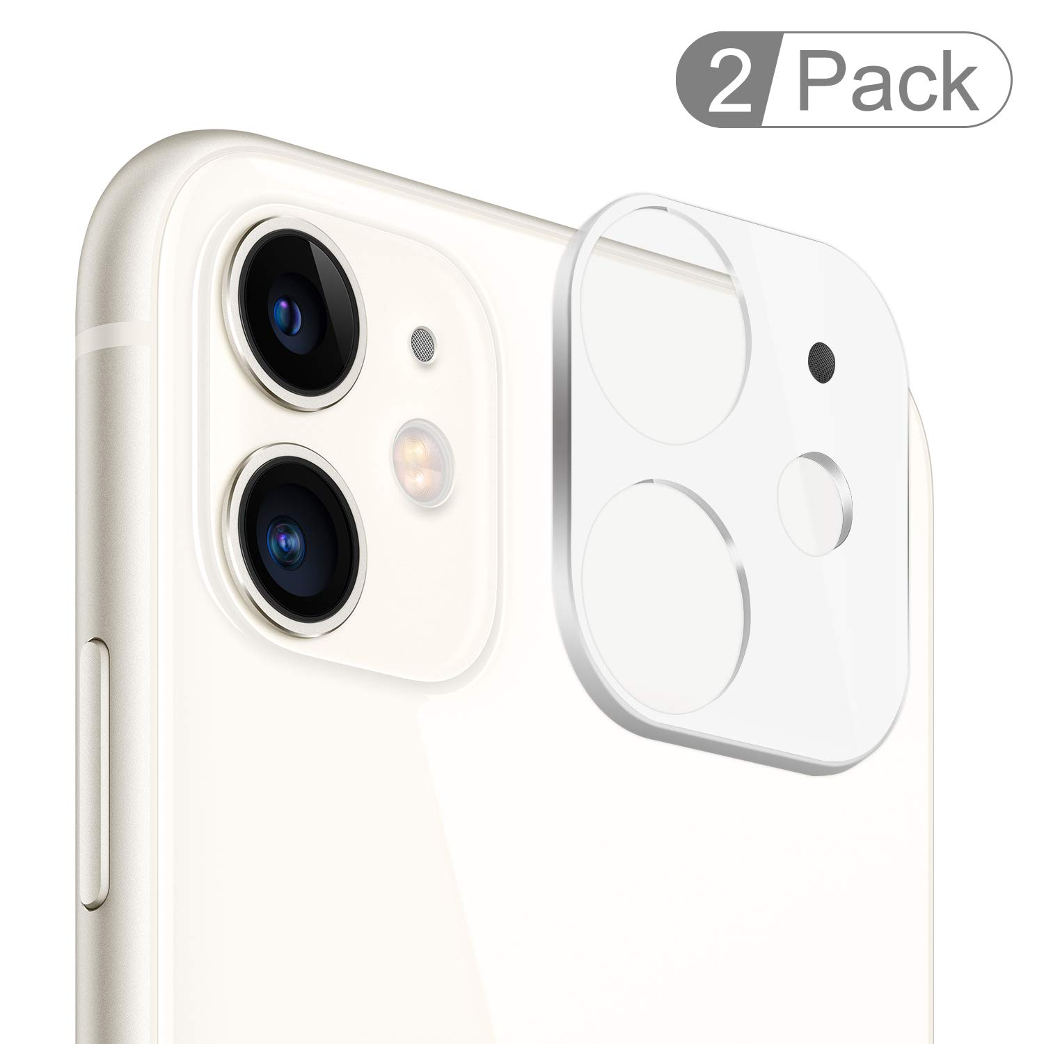 """(2 Pack) iPhone 11 Camera Lens Protector, BASE MALL Dustproof 9H Tempered Glass Camera Lens Screen Cover for iPhone 11 6.1"""", Anti-Scratch, Anti-Shatter (White)"""