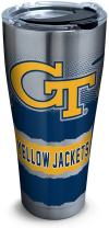 Tervis 1269355 Georgia Tech Yellow Jackets Knockout Stainless Steel Tumbler with Clear and Black Hammer Lid 30oz, Silver