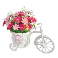 JAROWN Fake Daisy Artificial Flowers Nostalgic Bicycle with Ratten Plant Stand Louis Garden for Home Wedding Decoration(Pink Flower)