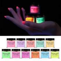 BORN PRETTY Luminous Dipping Nail Powder Kit Fluorescent Effect Acrylic Glitter Nail Dip Nail Powder Without Lamp Cure Natural Dry Nail Art Decoration 11 Colors
