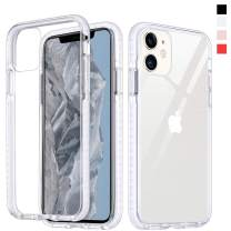 Inbeage Hybrid Designed Transparent iPhone 11 Case Crystal Hard Back with Soft Colorful Bumper Full Protection Cover Clear iPhone 11 Case 6.1 inch (Milk White)