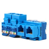 AMPCOM 5-Pack CAT6 RJ45 Tool-Less Keystone Jack, No Punch Down Tool Required UTP Module Connector Blue