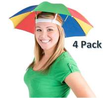"""CUZAIL Umbrella Hat for Adults and Kids - 20"""" Hands Free Umbrella - Beach, Funny Dress Up, Pool, Fishing, Rain, Rainbow Sun Hat Bulk Pack of 4 - Party Supplies - One Size"""