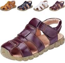 DADAWEN Boy's Girl's Leather Closed Toe Outdoor Sport Sandals (Toddler/Little Kid/Big Kid)