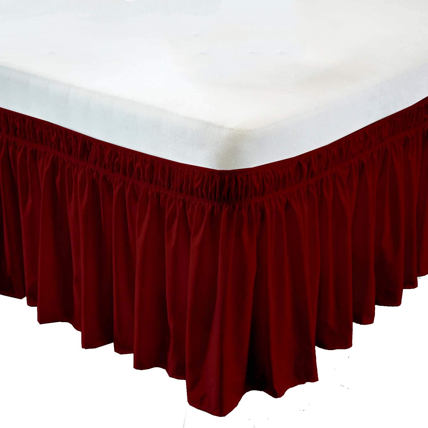 Wrap Around Bed Skirt- 12 Inch Drop Length Style Easy Fit Elastic Bed Ruffles Bed-Skirt Wrinkle Free Bed Skirt - Burgundy, King in All Bed Sizes and Colors