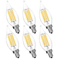 6-Pack Candelabra LED E12 Bulb, Luxrite, 6W LED Flame Bulb, 5000K Bright White, 650 Lumens, 60W Candelabra Bulb LED, E12 Candle Base, UL Listed