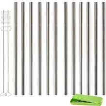 Accmor 18/8 Stainless Steel Smoothie Straws(LE:8.5in, OD: 0.35 in), FDA-Approved Reusable Wider Drinking Straw - Set of 12 Straight Straws with 2 Brushes-Great for to-Go Cups, Mason Jars, Ball Jars