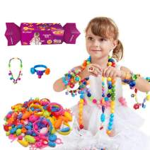 Happytime Snap Pop Beads Girls Toy DIY Jewelry Kit Fashion Fun for Necklace Ring Bracelet Art Crafts Toys for Kids Girls (260Pcs)