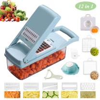 Vegetable Chopper, Food Choppers Cutter and Onion Slicer Dicers, 12 in 1 Veggie Slicer Manual Mandoline for Garlic, Cabbage, Carrot, Potato, Tomato, Fruit, Salad (Blue)