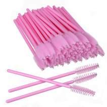 Elisel 100 PCS Disposable Eyelash Brushes Mascara Brushes Eye Lash Eyebrow Applicator Cosmetic Makeup Brush Tool Kits (Pink)