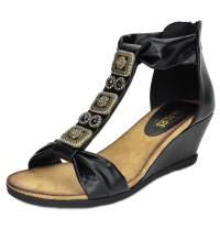 DREAM PAIRS Aztek New Women's Summer Fashion Design Ankle Low Wedge Platform Heel Sandals Black Size 11