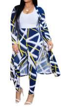 Women's Elegant 2 Piece Outfits Floral Long Sleeve Open Front Cardigan High Waist Long Pants Set