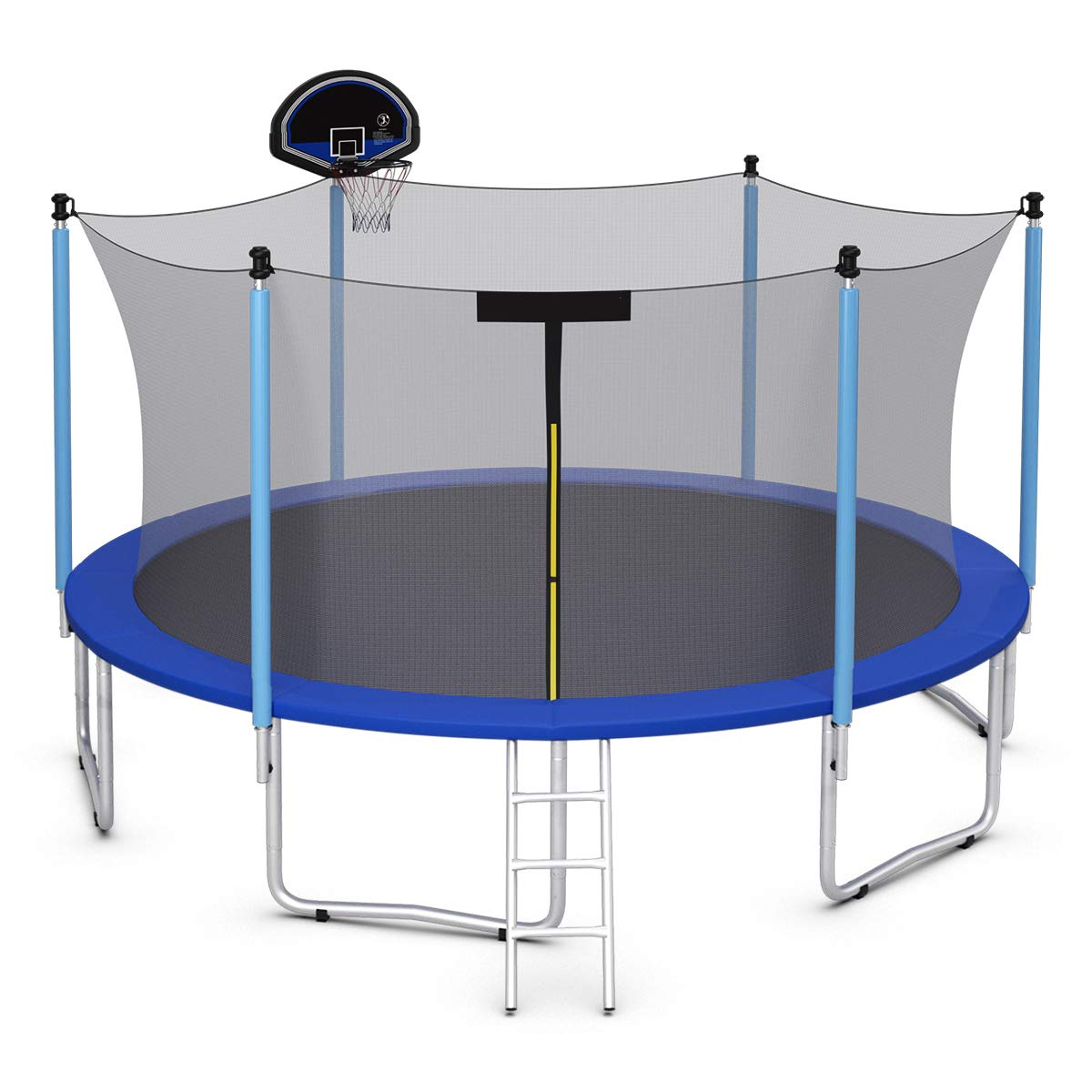 Goplus 15FT 14FT Trampoline with Basketball Hoop, Round Trampoline with Enclosure Net & 3-Step Ladder, Safety Pad, Backyard Bounce Basketball Trampoline for Kids & Adults Outdoor Activities