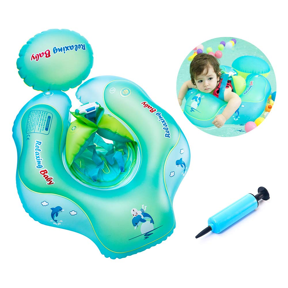 Baby Floaties for Infants, Inflatable Swimming Float Ring with Bottom Support and Swim Buoy Floats for Kids Toy Pond, Swimming Pool, Bathtub and Seaside for the Age of 3 months - 1 Year Old Infant
