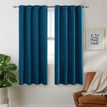 Curtains 63 Blue Room Darkening Thermal Insulated Grommet Top Bedroom Linen Textured Window Treatment Set Curtains Moderate Blackout Curtains 2 Panels