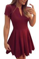 Sidefeel Women Cute V Neck Sweet Scallop Pleated Skater Dress