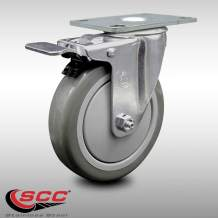 "Service Caster – 5"" Non-Marking Gray Polyurethane Wheel – Stainless Steel Swivel Caster w/Total Lock Brake – 300 lbs. Capacity"
