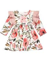 Oklan Toddler Baby Girl Dress Floral Ruffle Long Sleeve Flare Party Princess Dress Clothes