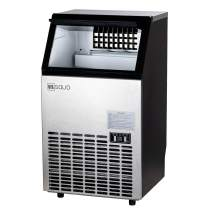 U.S. Solid Commercial Ice Maker - Stainless Steel Industrial Ice Making Machine 100 LBS/24 H with 33 Pounds Storage Capacity, 45 pcs of Cubes Per Plate, Self-cleaning, ETL Certificate