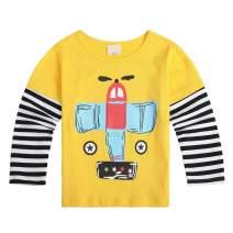 Sooxiwood Little Boys T-Shirt Cartoon Striped Car Plane
