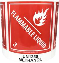 Laminated UN1230 Methanol Paint Flammable Liquid Hazard Class 3 Pre-Printed Labels 4 x 4 Inch Square 500 Total Stickers on a Roll