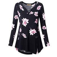 Xinantime Women Loose T Shirt Print O-Neck Button Pullover Tops Plus Size Ladies Long Sleeve Fluffy Dress Blouse (M, Black)