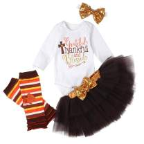 Thanksgiving Newborn Baby Girl Dress Turkey Striped Ruffles Romper+Bowtie Skirt Headband Clothes Set