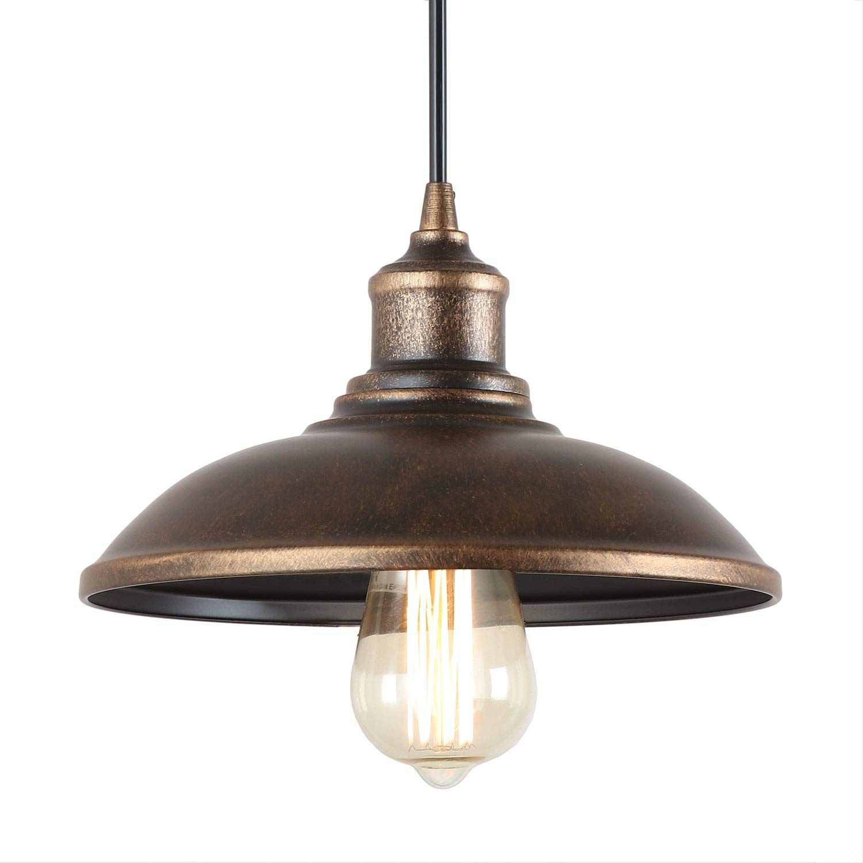 "Giluta Rustic Pendant Light Industrial Barn Pendant Lighting, Vintage Style Kitchen Warehouse Edison Hanging Light Fixture 9.75""D x 6"" H, Bronze (P0034)"