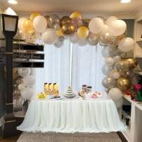 Balloon Arch & Garland Kit | 100 Pearl White, Chrome Gold Confetti & Silver | Balloon Arch & Garland Strip Tool | Holiday, Wedding,Baby Shower,Birthday,Graduation Party Decorations
