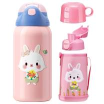 willikiva Cute Thermos Cup for Kids Toddler SUS 316 Stainless Steel Vacuum Insulated Water Bottle With Cover (Pink Rabbit)