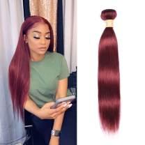 Uhair Light Wine Red Brazilian Straight 1 Bundle 14 Inch Virgin Human Hair Bundles 8A Grade 100% Human Hair Remy Weave Bundles Color 33