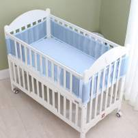 4-Sided Baby Breathable Crib Bumper,Airflow Safe 3D Mesh Crib Liner,Free from Entanglement Risk Design Blue