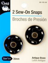 Dritz 80-125-38 Sew-On Snaps, Antique Brass, 30mm 2-Count