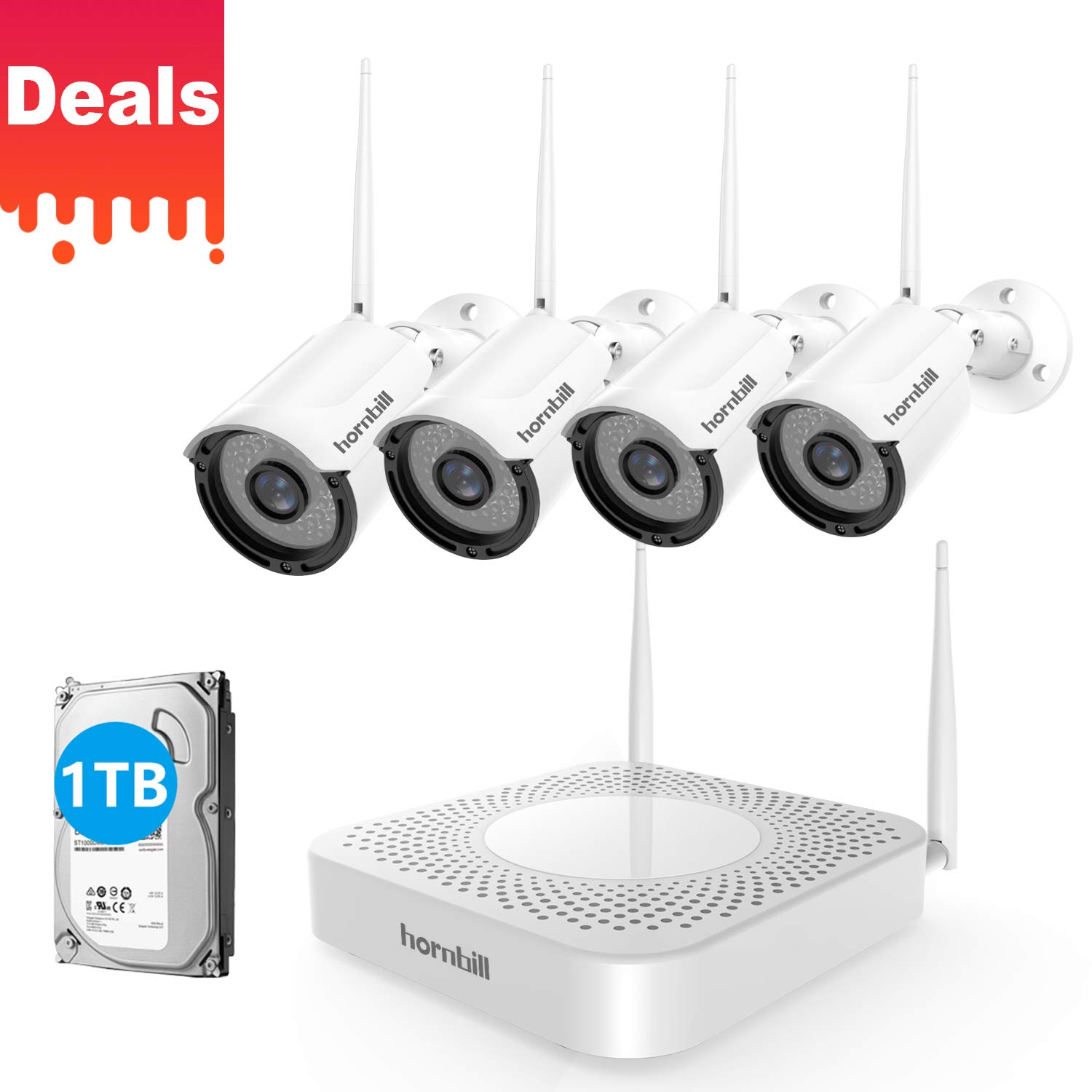 Hornbill Wireless Security Camera System 8CH 1080P Expandable Home Surveillance DVR Kits with 4pcs Outdoor Security Camera [Clear Night Vision] 1TB Hard Drive Plug Play No Montly Fee