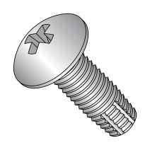 """18-8 Stainless Steel Thread Cutting Screw, Plain Finish, Truss Head, Phillips Drive, Type F, #10-24 Thread Size, 1/2"""" Length (Pack of 50)"""