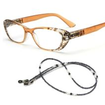 MIDI Chic Reading Glasses for Women Designed in Japan with Eyeglass Chain and Soft case (+1.50, Brown)(m101c1150)