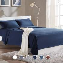 SLEEP ZONE Bed Sheet Sets Cozy Brushed Microfiber Soft Wrinkle Free Fade Resistant with 16 inch Deep Pocket Easy Care Sheets 4 PC, Navy Blue,Queen