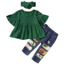 ZOEREA 3PCS Toddler Girls Clothes Summer Sunflower Outfit Ruffle Sleeve T-Shirt+Ripped Jeans Pants+Cute Headband