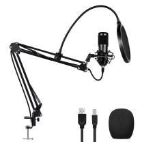 USB Condenser Microphone Kit with Suspension Boom Arm Stand and Pop Filter, Profession Sound Chipset 192kHZ/24bit Plug&Play, Computer Cardioid Mic for Recording, YouTube, Gaming, Broadcasting