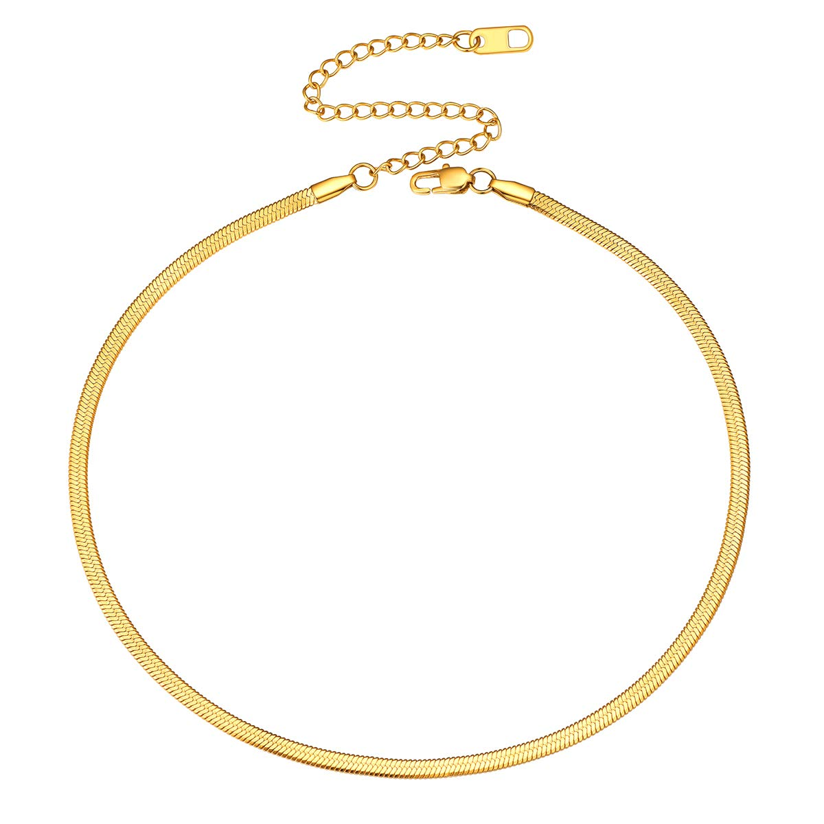FOCALOOK 3mm Flat Snake Chain Stainless Steel Necklace 18k Real Gold Plated for Women Men Teen Box(4 Colors)