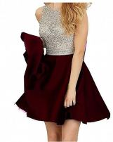TANGFUTI Beading Short Prom Dresses Open Back Satin Homecoming Dresses 107BG-US4 Burgundy