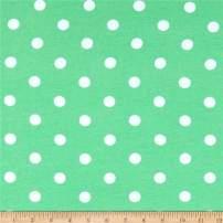 Fabric Merchants Cotton Spandex Jersey Knit Polka Dot Mint/Ivory Fabric by the Yard