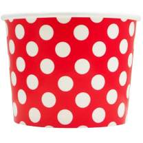 Valentine's Day Red Paper Ice Cream Cups - 12 oz Polka Dotty Dessert Bowls - Perfect For Your Yummy Foods! Many Colors & Sizes - Frozen Dessert Supplies - 50 Count