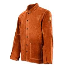 QeeLink Leather Welding Work Jacket Flame-Resistant Heavy Duty Split Cowhide Leather