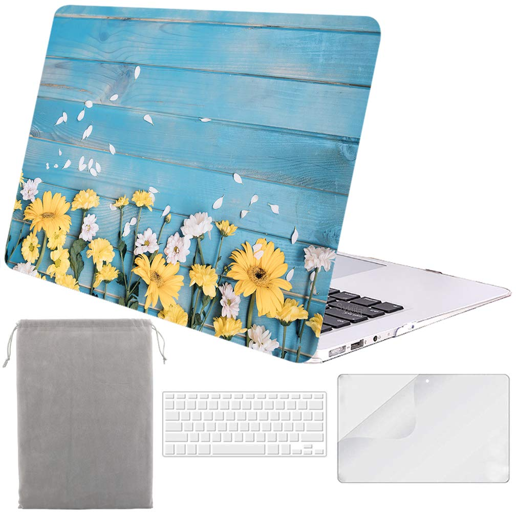 Sykiila for MacBook Air 11 Inch Case Hard Cover 4 in 1 HD Screen Protector & TPU Keyboard Cover & Sleeve Protective Folio Case for Model A1370 / A1465 - Floral Blue Wood