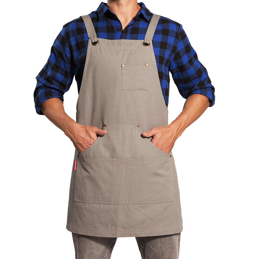 UNISI Goods Chef Works Apron with Tool Pockets, Waxed Canvas Work Aprons for Men, Cross Back Long Straps Waterproof Aprons, Apron for Kitchen BBQ and Grill Quick Release, Adjustable M to XXL(Greyish)