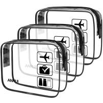 ANRUI Clear Toiletry Bag TSA Approved Travel Carry On Airport Airline Compliant Bag Quart Sized 3-1-1 Kit Travel Luggage Pouch 3 Pack (Black)