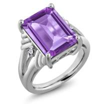 Gem Stone King 925 Sterling Silver Purple Amethyst and White Topaz Women's Ring 7.14 Ctw Emerald Cut (Available,5,6,7,8,9)