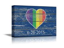 "wall26 - Canvas Prints Wall Art - Heart Shape Rainbow Flag Gay Pride Flag/LGBT Pride Flag Pattern 6-26-2015 on Vintage Wood Board - 16"" x 24"""