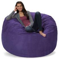 Comfy Sacks 5 ft Memory Foam Bean Bag Chair, Purple Micro Suede